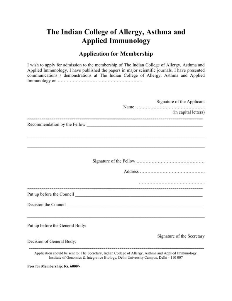 Application for Membership - Indian College of Allergy, Asthma