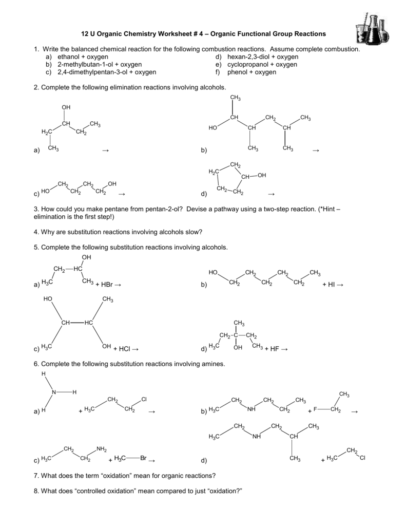 12 U Organic Chemistry Worksheet # 4 – Organic Functional Group