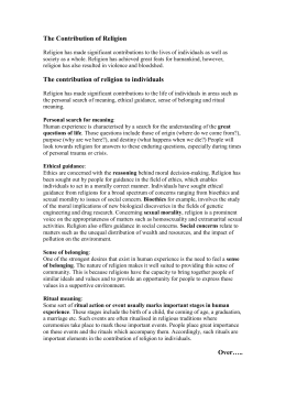 The contribution of religion to individuals