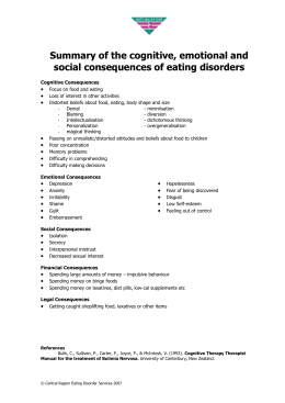 Summary of Physical Problems related to binge eating, vomiting and