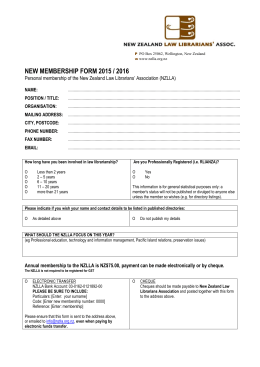 Membership Form 2015/16 - New Zealand Law Librarians` Association
