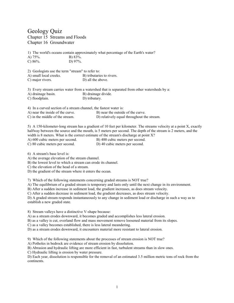 GEOL Q5 1516 – Groundwater Worksheet