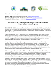 Maryland, EPA, Chesapeake Bay Trust Provide $3.4 Million for