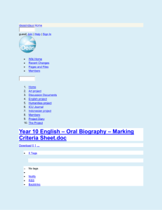 ideasindaus - Year 10 English – Oral Biography – Marking Criteria