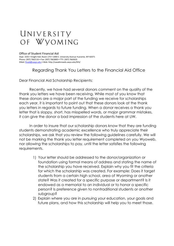 Thank You Letters University Of Wyoming
