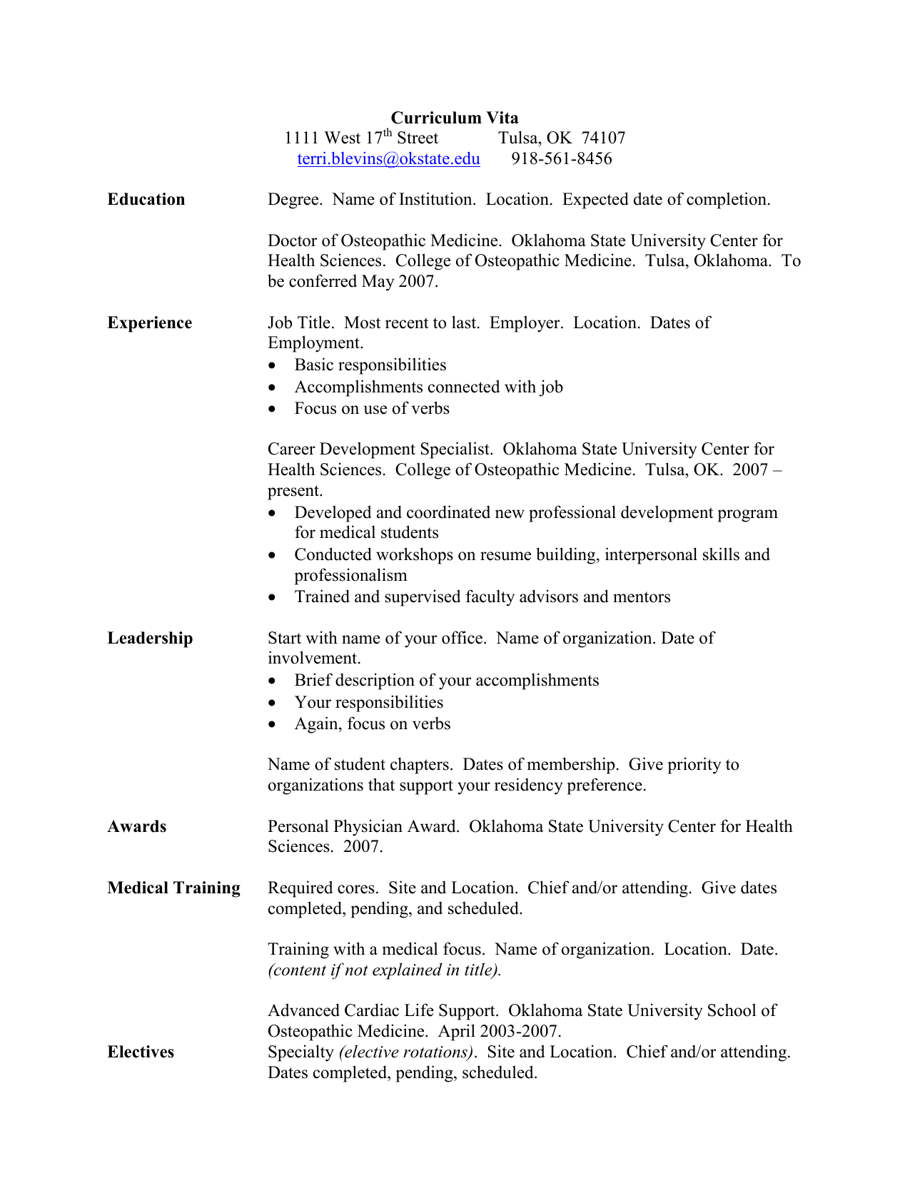 Curriculum Vita - Oklahoma State University Center for Health