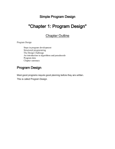 Simple Program Design