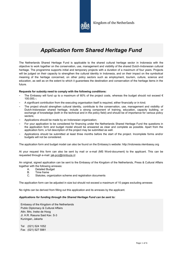 Application Form Shared Heritage Fund The Netherlands Shared