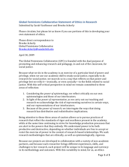 Global Feminisms Collaborative Statement of Ethics in Research