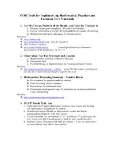 SVMI Tools for Implementing Mathematical Practices and Common