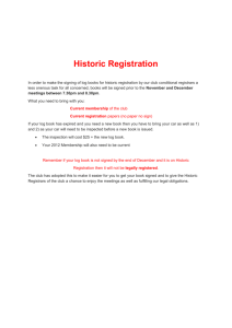 Historic Registration In order to make the signing of log books for