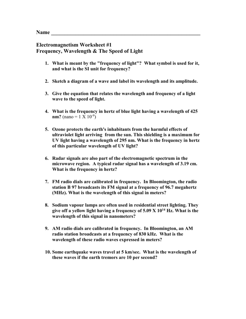 Frequency and Wavelength worksheet