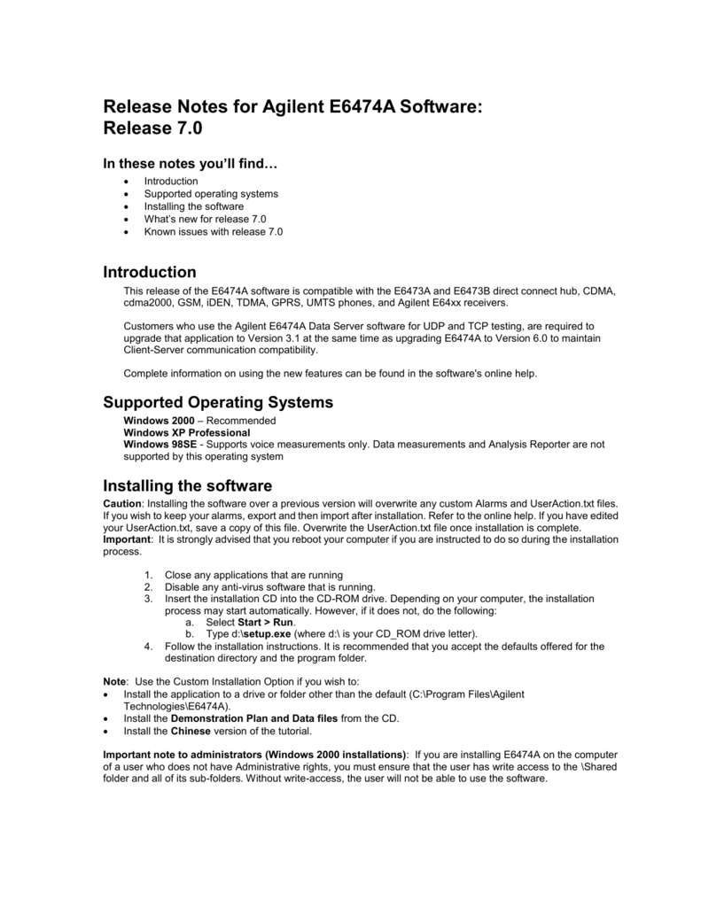 Release Notes for Agilent E6474A Software: