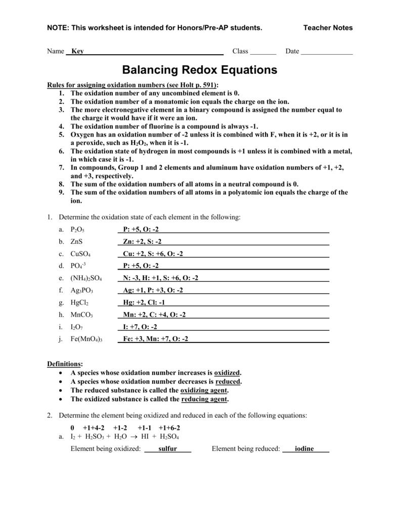Worksheet #3. Worksheet - Balancing Redox Equations
