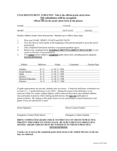 COACHES/STUDENT ATHLETES: This is the official grade check form