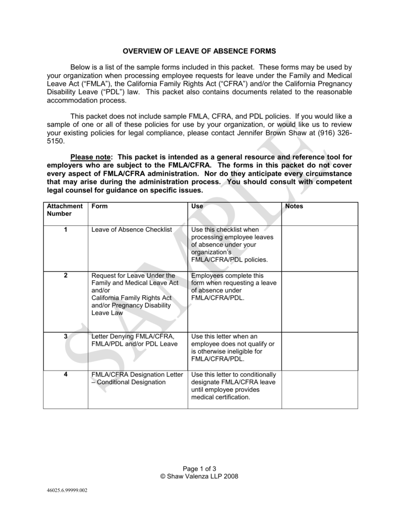 Leave of Absence Sample Forms and Letters (00046025