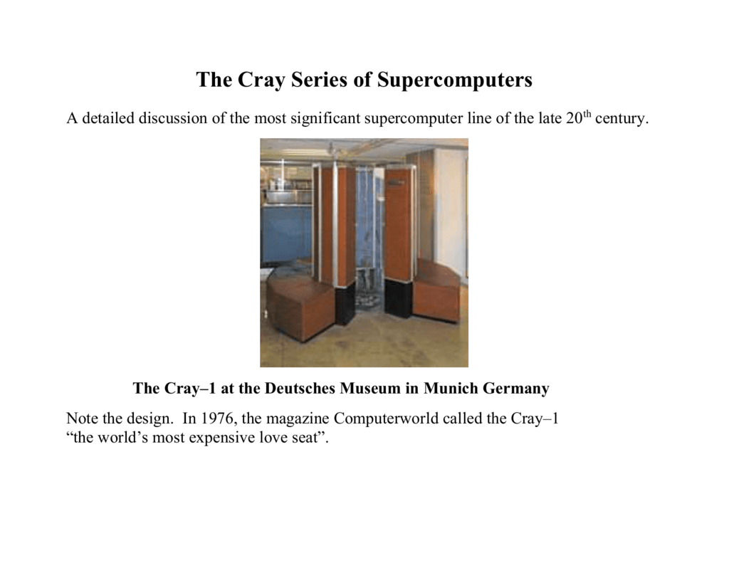 The Cray Supercomputers - Edward Bosworth, Ph D