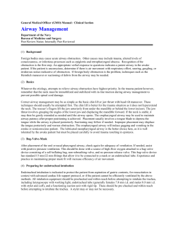 General Medical Officer (GMO) Manual: Airway Management