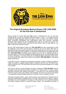 The Original Broadway-Musical Disney THE LION KING for the first