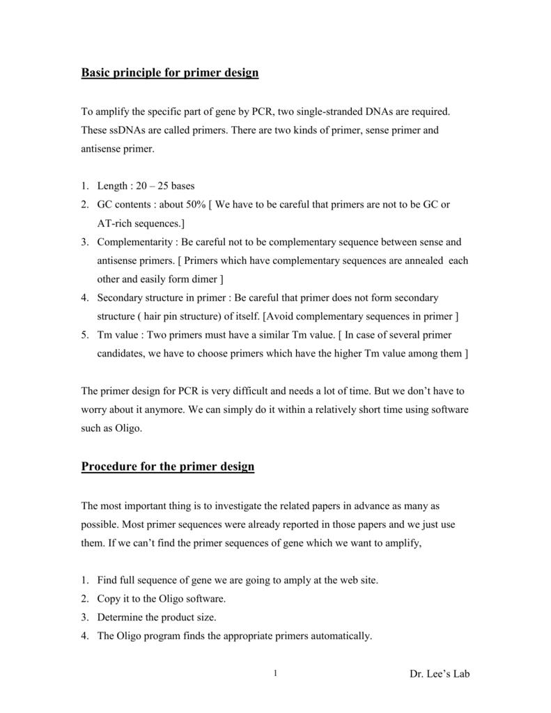 Basic Principle For Primer Design