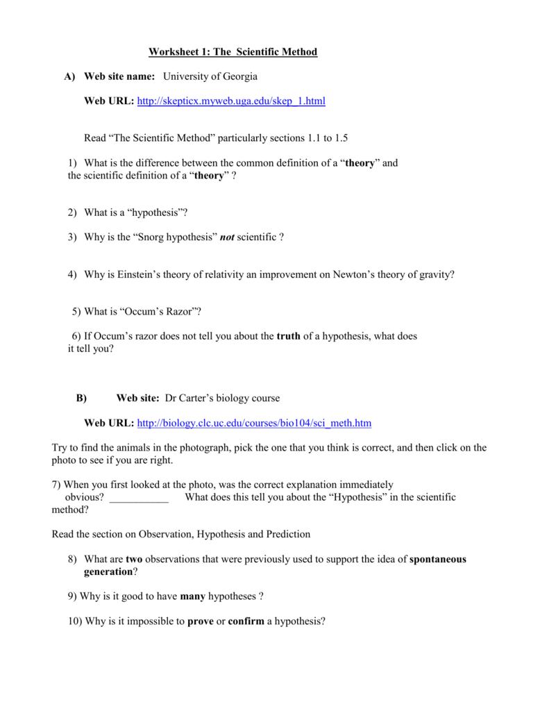 Worksheet 1 The Scientific Method