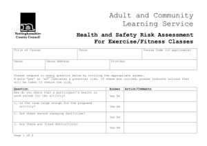 ACLS Health and Safety Risk Assessment