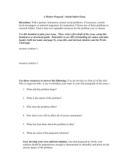 What Is The Thesis Of An Essay A Modest Proposal Social Satire Essay  Should The Government Provide Health Care Essay also Essay Proposal Outline Satirical Essay How To Write An Essay For High School
