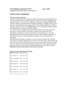 THE EMMAUS NEWSLETTER June, 2005