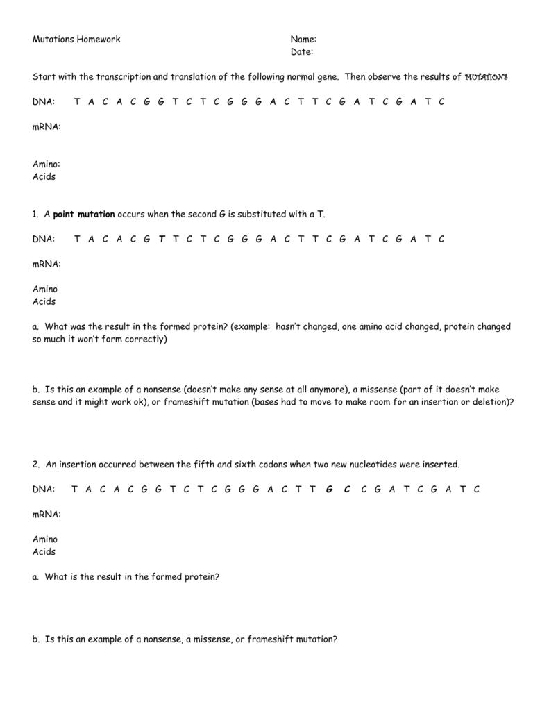 Mutations Homework