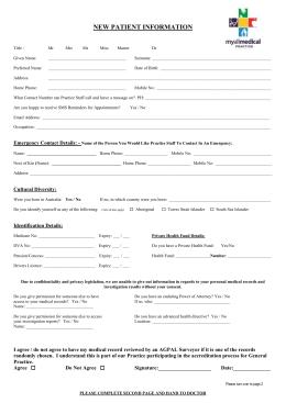 new patient registration form