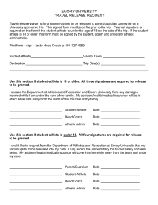 TRAVEL RELEASE REQUEST FORM - Emory University Athletics