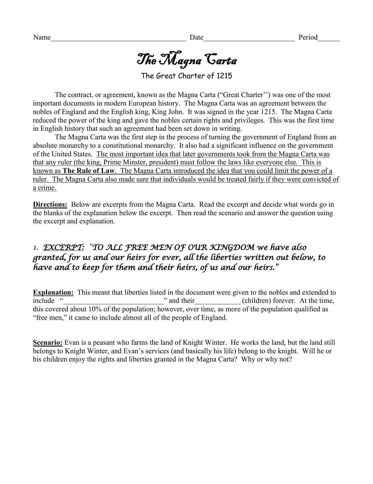 worksheet Magna Carta Worksheet 11 magna carta primary source