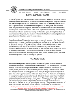 6th grade Earth-Water - North East Independent School District