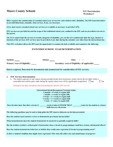 ESY Worksheet Directions