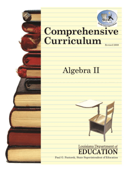 Algebra II Comprehensive Curriculum Units 1-4