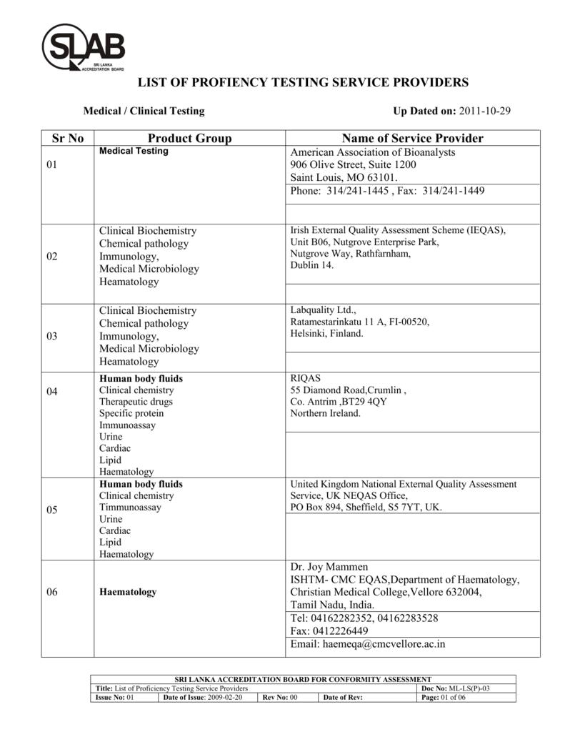 list of profiency testing service providers