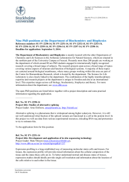 1(8) Nine PhD positions at the Department of Biochemistry and