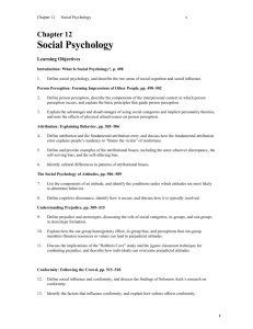 Chapter 12: Social Psychology