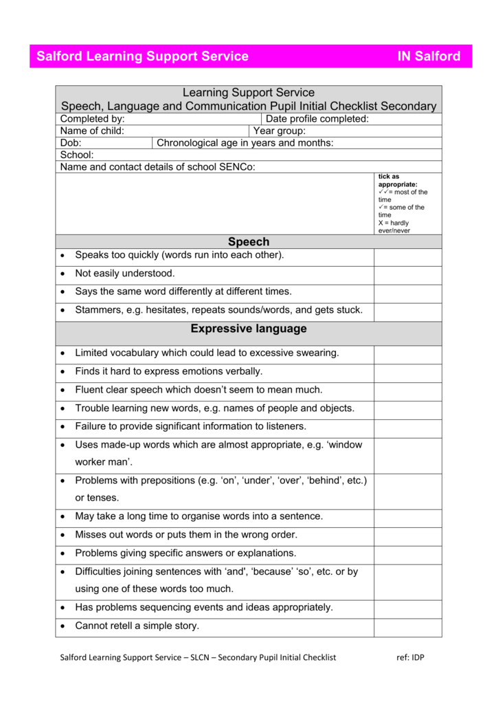speech and language secondary initial checklist