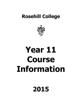 Year 11 Course Information Booklet 2015