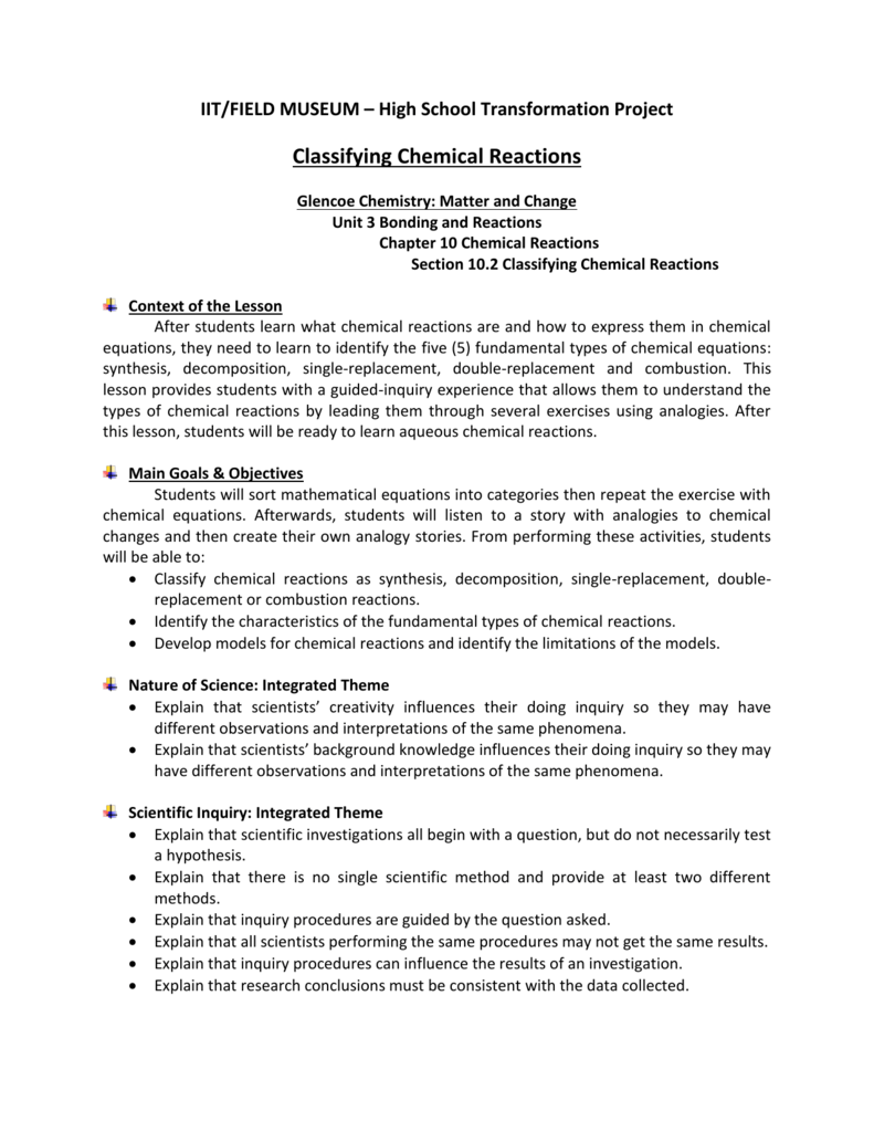 Classifying Chemical Reactions Worksheet