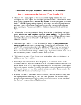 Guidelines for Newspaper Assignment #2: Anthropology of Eastern