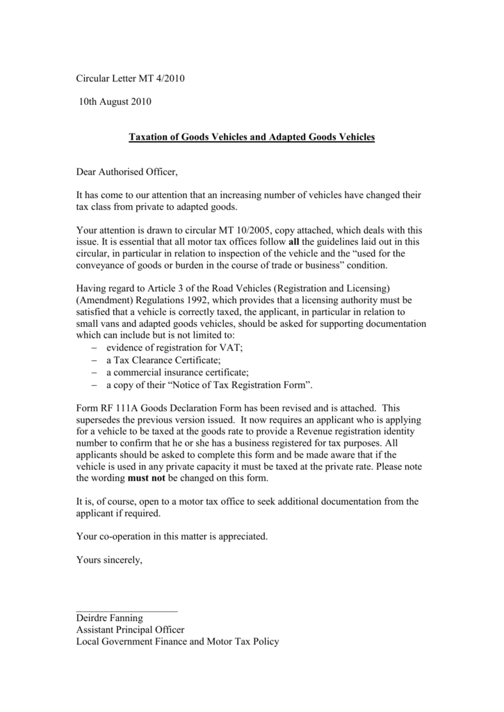 Circular Letter Mt 2010 Department Of Environment And Local