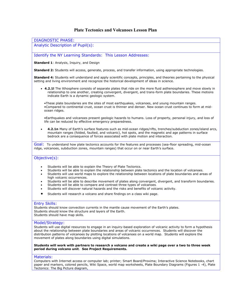 worksheet Volcanoes Worksheets plate tectonics and volcanoes