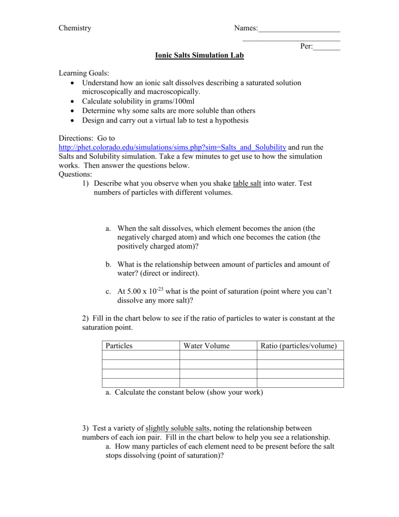 Solubility Lab Worksheet Answers Kidz Activities