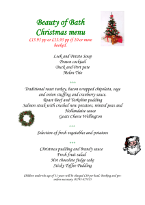 Beauty of Bath Christmas menu