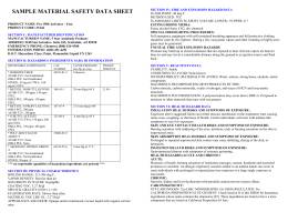 SAMPLE MATERIAL SAFETY DATA SHEET