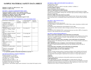 MATERIAL SAFETY DATA SHEET K119−SW 16 00