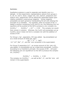 Summary for Cation separation