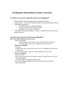 Earthquake information for future reference